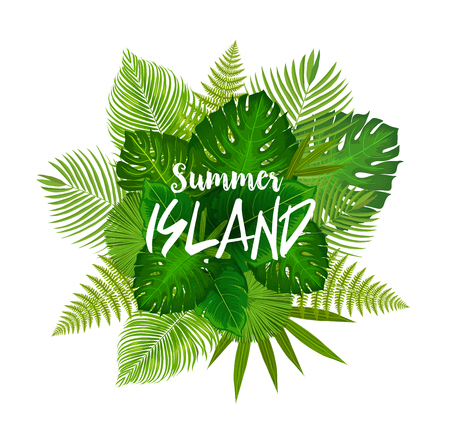 Summer island poster with bunch of tropical palm leaf. Exotic plants green leaves banner with monstera, fern and banana tree foliage for tropical beach vacation and holiday themes design