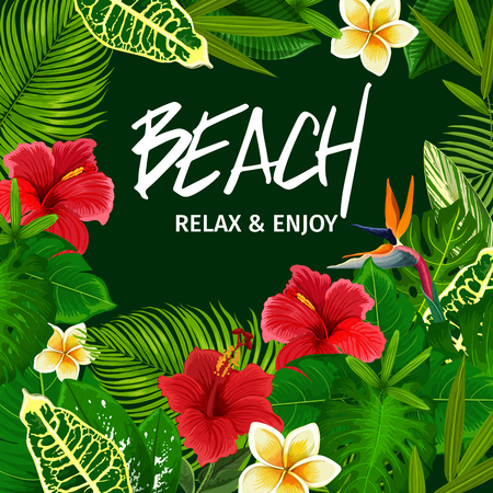 Beach party invitation with tropical palm leaves and exotic flowers frame. Summer vacation and holiday floral poster, decorated by jungle tree and plants, hibiscus, strelitzia and plumeria blossom