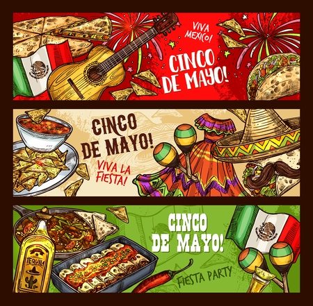 Cinco de Mayo Mexican holiday, Viva Mexico fiesta celebration sketch banners. Vector Cinco de Mayo traditional symbols of sombrero, tequila and avocado with burrito, nachos and guacamole