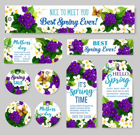 Spring flower tag for Springtime season sale and Mother Day holiday template. Jasmine and violet floral label with butterfly, green leaf and branch for discount price offer and greeting card design