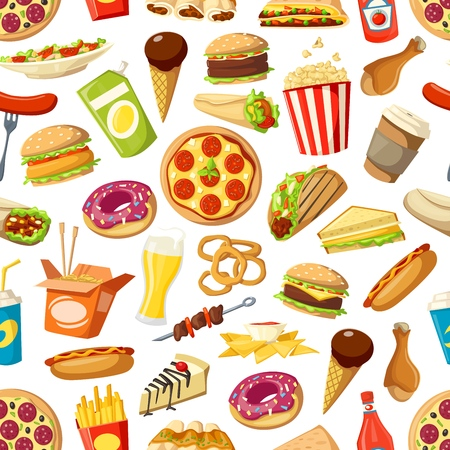 Fastfood meals vector seamless pattern. Pizza and popcorn, doner and taco, chicken and burger, onion rings, beer, french fries and nachos. Cheesecake and ice cream, donut and sandwich, hot dog Standard-Bild - 126298092