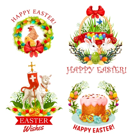 Happy Easter icons with Christian religion holiday vector symbols. Easter eggs, bunnies and chickens, lamb of God, cross and cake, spring flowers wreath and willow branches greeting card design