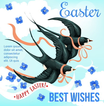 Happy Easter Holidays poster with spring bird. Swallow flying in blue sky with ribbon bow and banner with wishes of Happy Easter for festive card design, decorated by forget-me-not flower
