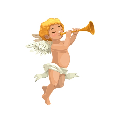 Cupid angel playing pipe vector design of Valentines Day holiday or wedding celebration greeting card. Amur or Eros, god of love and desire cartoon character with wings and flute Illustration