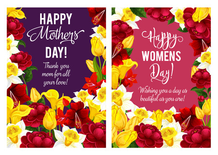 Happy Mother day greeting cards floral design of blooming flowers for seasonal holiday wish. Vector Mother day springtime red, pink and purple spring flowers bunches of blooming poppy or hibiscus