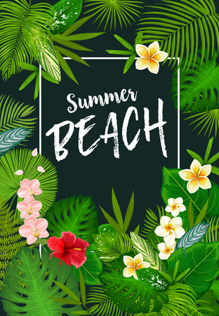 Summer beach vacation banner with frame of tropical palm leaves and flowers. Exotic island green foliage of monstera, fern and banana tree, hibiscus, orchid and plumeria. Summer time travel design Illustration