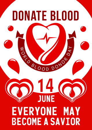 Donate blood poster for 14 June of World blood donor day. Vector design of heart, blood drop and helping hand with red ribbon for social charity event and donation volunteering Vektoros illusztráció