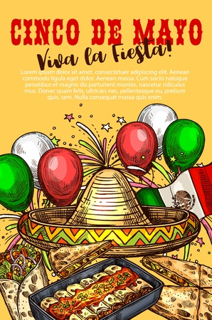 Cinco de Mayo day, Mexican holiday, Mexico cuisine dishes, fiesta party. Vector sombrero and balloons, flag and firework, enchiladas and quesadilla, burrito. Festive dinner, spicy food with chili