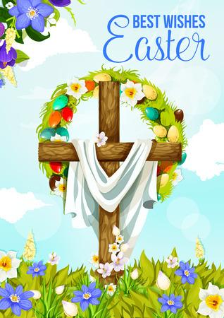 Bandiera di saluto trasversale di Pasqua della progettazione di festa di primavera di religione cristiana. Crocifisso di Gesù Cristo con uovo di Pasqua e ghirlanda di fiori su campo floreale con narciso e croco per la celebrazione della domenica di Pasqua