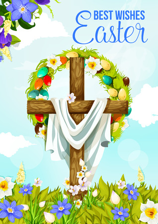 Easter cross greeting banner of christian religion spring holiday design. Jesus Christ crucifix with Easter egg and flower wreath on floral field with daffodil and crocus for Easter Sunday celebration