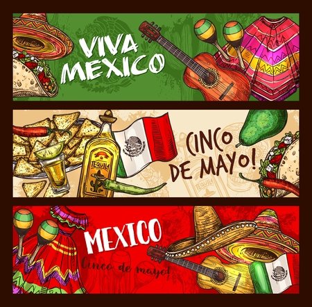 Cinco de Mayo Mexican traditional holiday sketch banners. Vector Cinco de Mayo celebration symbols sombrero, chili pepper jalapeno and tequila, poncho or Mexico fiesta dress with nachos and tacos Stockfoto - 115208676