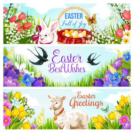 Easter Holiday greeting card for spring season celebration. Egg hunt basket, rabbit bunny, flower and butterfly, lamb, ribbon and swallow bird, daffodil, tulip and crocus blossom with greeting wishes