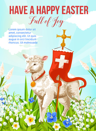 Easter lamb with cross greeting card for Spring Holiday celebration. White sheep with wooden crucifix and red flag standing on flower field of daffodil, lily and green grass for Happy Easter banner