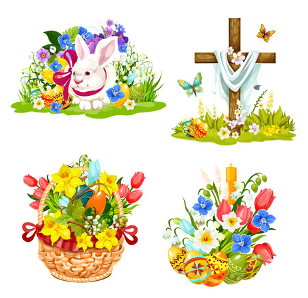 Easter symbols for Christianity holiday greeting cards. Vector cartoon icons of paschal eggs, Christ crucifixion cross and bunny with flowers in wicker basket for Holy Sunday celebration design Illustration