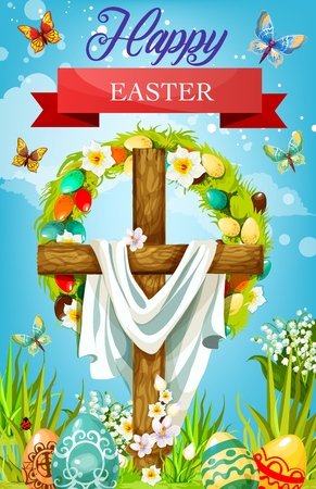 Easter cross with shroud, floral wreath of eggs and spring flowers vector greeting card. Christian religion wooden crucifix with painted eggs, green grass and daffodil, crocus, lily and butterflies
