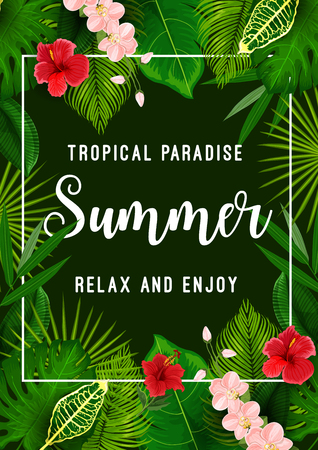 Summer tropical palm leaf and flower poster. Exotic floral frame with green foliage of jungle plant and tree, hawaiian hibiscus and orchid flower for summertime season holidays and vacation banner