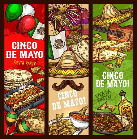 Cinco de Mayo Mexican holiday party and traditional fiesta celebration banners. Vector sketch of Mexico flag and Cinco de Mayo symbols of sombrero, tequila and avocado, maracas and Mexican mustaches