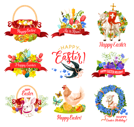 Happy Easter Holiday icon for greeting card design. Spring flower frame with Easter egg hunt basket, rabbit bunny and candle, chicken, lamb of God and ribbon banner with He Is Risen greeting wishes Ilustracja
