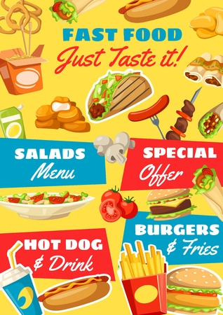 Fast food vector menu. Vector soda drink, salads and hot dog, burger and french fries, mexican taco and chinese noodles, enchiladas and barbecue. Onion rings and doner, nuggets and burrito