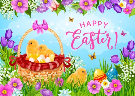 Easter basket with eggs, chicks and spring flowers vector greeting card. Christian religion holiday painted eggs, chickens and green grass, butterflies, daffodils and tulips, Resurrection Sunday theme Illustration