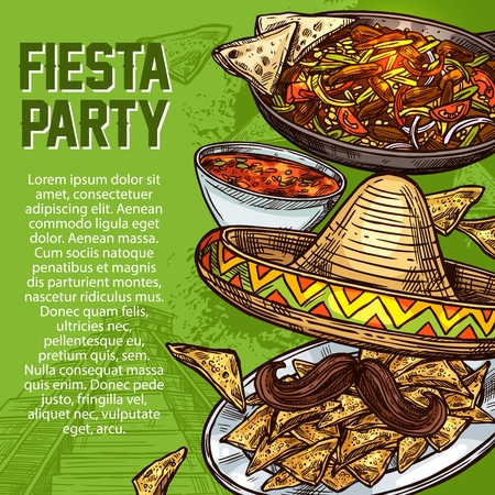Cinco de Mayo day, Mexican holiday, Mexico cuisine dishes, fiesta party. Vector sombrero and mustache, salsa in bowl and nachos on plate, fajitas pan. Spicy food meals, traditional festive dinner