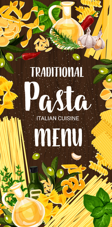 Pasta cuisine dish menu. Vector italian spaghetti and fettuccine, farfalle and fusilli, lasagna and conchiglie, orzo and chifferi, alluovo and penne. Basil and pepper, olive oil and rosemary, garlic