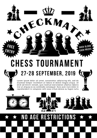 Chess sport, checkmate tournament. Vector game pieces and trophy cup, pawns and rook, knight and bishop, queen and king. Chessboard and timer, intellectual competition, crown and award, championship Foto de archivo - 115570822