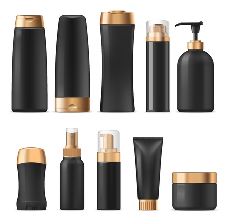 Perfumes and cosmetics, cream and lotion containers mockup. Vector shampoo or gel, hair conditioner and sprayer, liquid soap and deodorant. Cosmetical oil and moisturizer in plastic bottles or jars