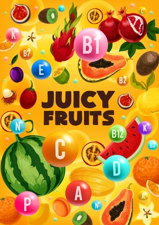 Juicy fruits, vitamins C and E, healthy nutrition. Vector watermelon and papaya, pomegranate and orange, kiwi and dragon or miracle fruit. Plum and melon, fig and apricot, rambutan and quince