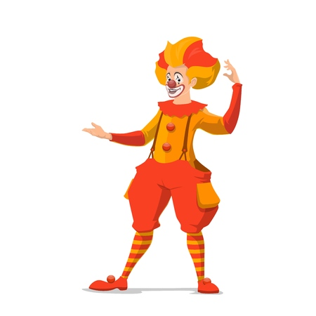 Clown isolated icon, circus show, makeup and fake nose. Vector entertainer or stage performer, comedian and amusement. Joker with crazy hairstyle in pants on suspenders and striped stockings Foto de archivo - 126049582