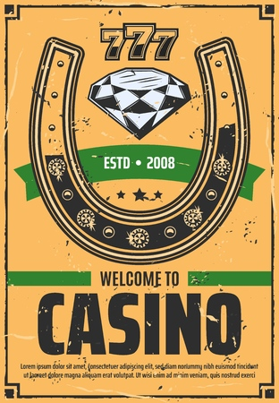 Casino invitation with golden horseshoe symbol of luck or success and brilliant diamond and gem stones. Vector poker and slot, lucky numbers. Gambling games, jackpot and risk. Retro trophy symbol