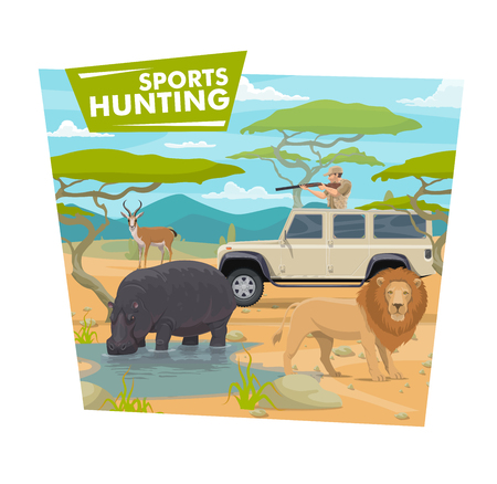 Safari hunting sport, hunter in jeep holding rifle or gun. Vector huntsman in car and wild animals, hippo , lion and antelope, savanna desert. Vehicle and weapon, brutal hobby or outdoor activity