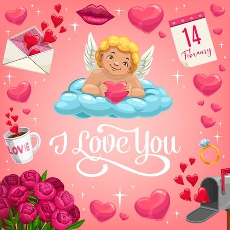 Il giorno di San Valentino Cupido sdraiato sulla nuvola con il disegno vettoriale del cuore di un biglietto di auguri romantico per le vacanze d'amore. Cuori rossi, busta con lettera d'amore e bouquet di fiori, fede nuziale, labbra baciate, calendario e scintillii