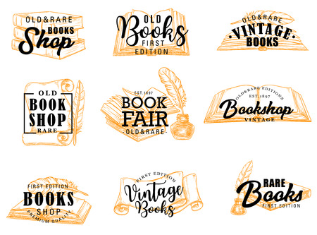 Manuscript and books, scroll and parchment silhouette icons with lettering. Vector vintage books shop signs, literature and feather with ink, knowledge and education. Old and rare volumes of poetry