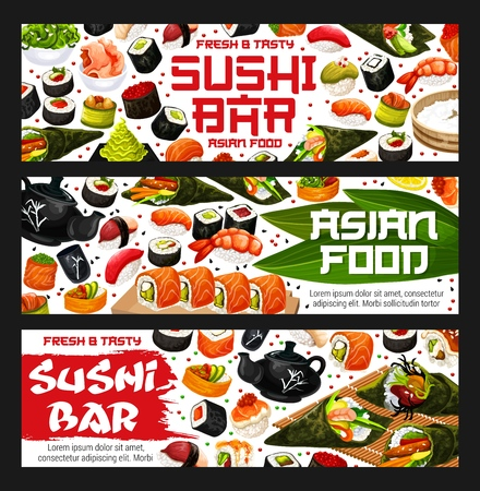 Asian food or sushi bar delivery. Vector roll and sashimi, ikura and kappa or tekka maki, shrimp or salmon nigiri and syake and tobikko, gunkan and hasomaki, uramaki and temaki. Oriental seafood