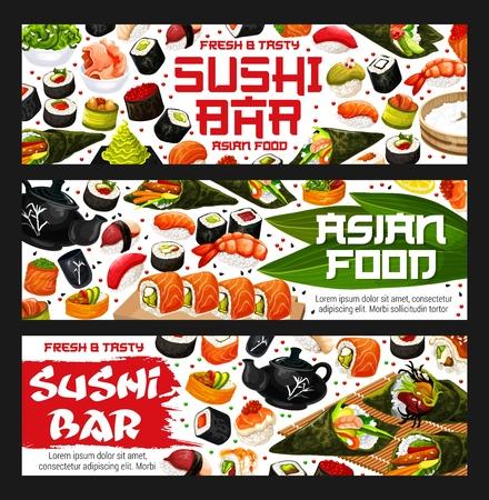 Livraison de plats asiatiques ou de sushis. Rouleau vectoriel et sashimi, ikura et kappa ou tekka maki, crevettes ou saumon nigiri et syake et tobikko, gunkan et hasomaki, uramaki et temaki. Fruits de mer orientaux Vecteurs