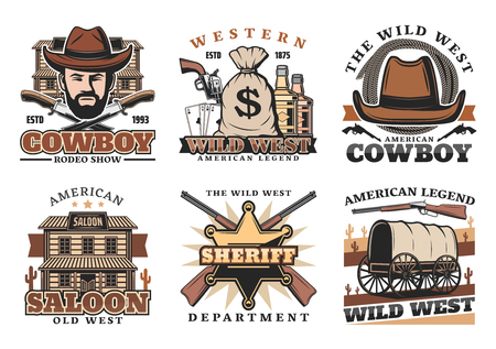 Wild West or western vector icons with cowboy or sheriff. Knives and sack of money, whiskey and revolver, play cards and lasso, saloon and gun, carriage and rifle. American culture and history symbols Illustration