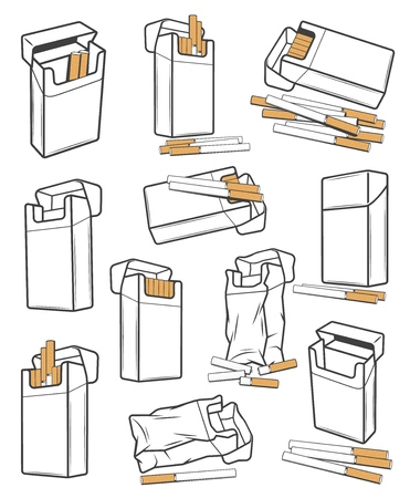Cigarette packs icons crumpled and torn, vector. Cigar with filter open and closed packaging boxes, empty and full carton packages blank mockups. Smoking tobacco, nicotine addiction, bad habit