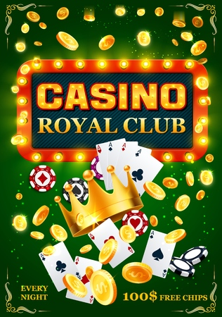 Gambling night club or casino, play cards and poker chips. Vector slot machine coins, royal gold crown, wealth and fortune, game of luck. Risky stakes, earning easy money, signboard with lamps