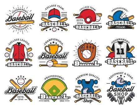 Iconos deportivos, juego de béisbol, artículos deportivos. Vector bate y pelota, casco y uniforme, trofeo, guante y estadio o campo de juego. Equipamiento y equipamiento de los jugadores, torneo o campeonato, competición
