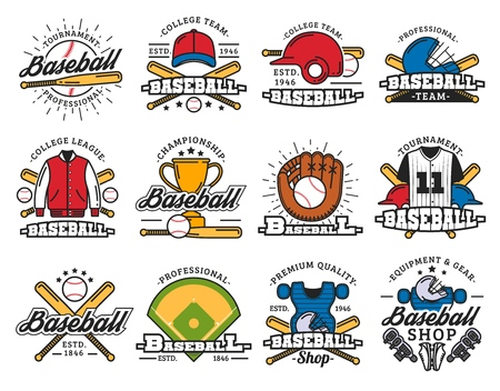 Sport icons, baseball game, sporting items. Vector bat and ball, helmet and uniform, trophy cup, glove and stadium or play field. Equipment and players gear, tournament or championship, competition