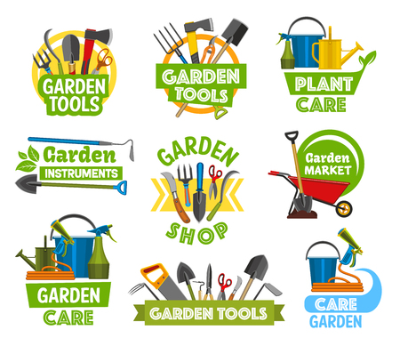 Garden or farming tools and equipment icons. Vector forks and spit, shovel and axe, scissors and secateurs, spade and watering can, bucket and sprayer. Hoe and wheelbarrow, hose and saw