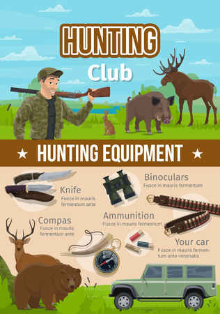 Hunter and wild animals, hunting sport equipment. Vector huntsman with rifle or gun, knife and binoculars, ammunition and compass, horn and bullets. Bear and deer, boar and elk or moose and hare