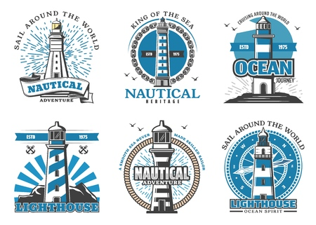 Marine navigation and safety in sea icons with lighthouses. Beacon in shape of striped tower badge for sail around world. Nautical navigation and adventure for skilled sailors vector isolated