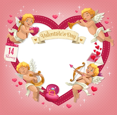 Valentines Day love heart with Cupids and copy space in center vector greeting card. Flying Amurs with arrows, bows and lyre, love letter envelope, diamond ring and calendar frame with ribbon banner