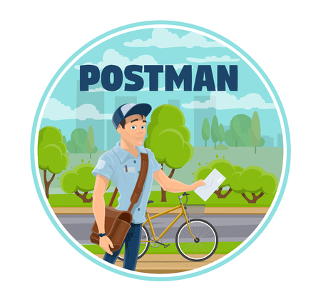 Express mail delivery service worker or postman with letter and bicycle. Vector mailman with leather bag in uniform standing on street near road. Post shipping and transportation within city