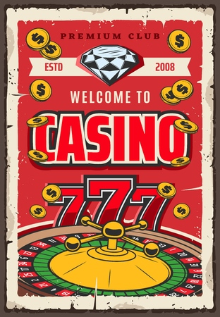 Gambling in roulette and slot machine retro vector. Diamond or brilliant and golden coins win. Money stakes and risk in game of luck vintage invitation with gem stone and 777 combination, fortune wheel