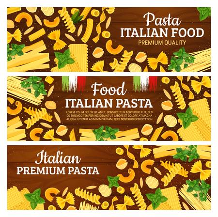 Italian pasta and seasonings, pastry of hard wheat. Vector spaghetti and farfalle, chifferi and fusilli, tortiglioni and alluovo. Sagnarelli and pappardelle, orzo and conchiglie, gnocchi and rigatoni