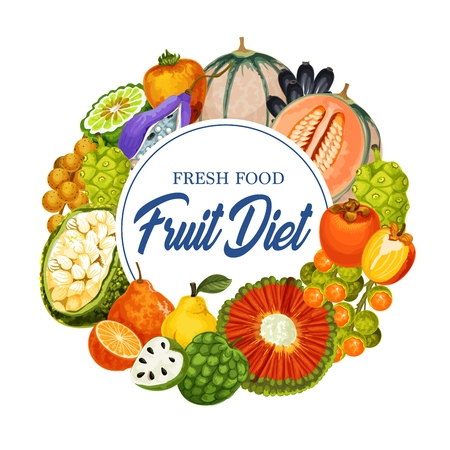 Fresh tropical fruits diet isolated icon, grocery store or shop. Vector soursop and sugar apple, noni and marang, persimmon and tangelo, longkong and quince, peppino and sweetie, akebia and pandanus Illustration
