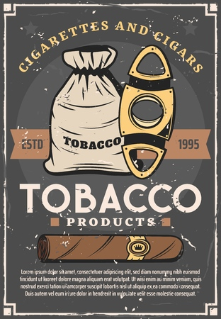 Tobacco cigarette production and cigar smoking retro vector. Sack of dry leaves and golden scissors cigars cutter knife. Harmful habit or addiction, nicotine addiction products, cuban brown cigar